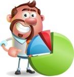 Businessman with Goatee Cartoon 3D Vector Character AKA Jordan - Chart
