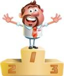 Businessman with Goatee Cartoon 3D Vector Character AKA Jordan - On Top