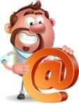 Businessman with Goatee Cartoon 3D Vector Character AKA Jordan - Email