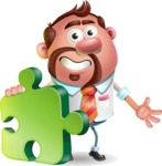 Businessman with Goatee Cartoon 3D Vector Character AKA Jordan - Puzzle