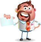 Businessman with Goatee Cartoon 3D Vector Character AKA Jordan - Sign 1