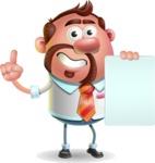 Businessman with Goatee Cartoon 3D Vector Character AKA Jordan - Sign 2