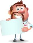 Businessman with Goatee Cartoon 3D Vector Character AKA Jordan - Sign 3