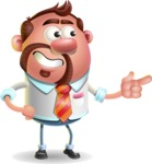 Businessman with Goatee Cartoon 3D Vector Character AKA Jordan - Point
