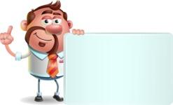 Businessman with Goatee Cartoon 3D Vector Character AKA Jordan - Sign 7
