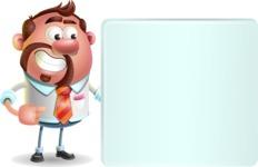 Businessman with Goatee Cartoon 3D Vector Character AKA Jordan - Sign 8
