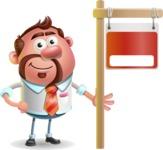 Businessman with Goatee Cartoon 3D Vector Character AKA Jordan - Sign 9