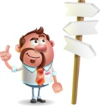Businessman with Goatee Cartoon 3D Vector Character AKA Jordan - Crossroad