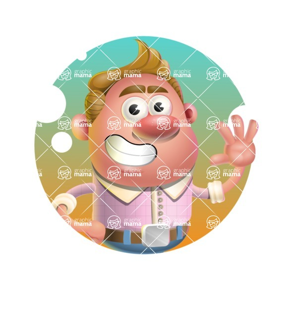 Vector Clay Business Man Cartoon Character Design AKA Theodore Quirk - Shape 1