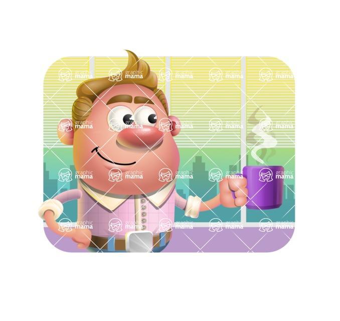 Vector Clay Business Man Cartoon Character Design AKA Theodore Quirk - Shape 2