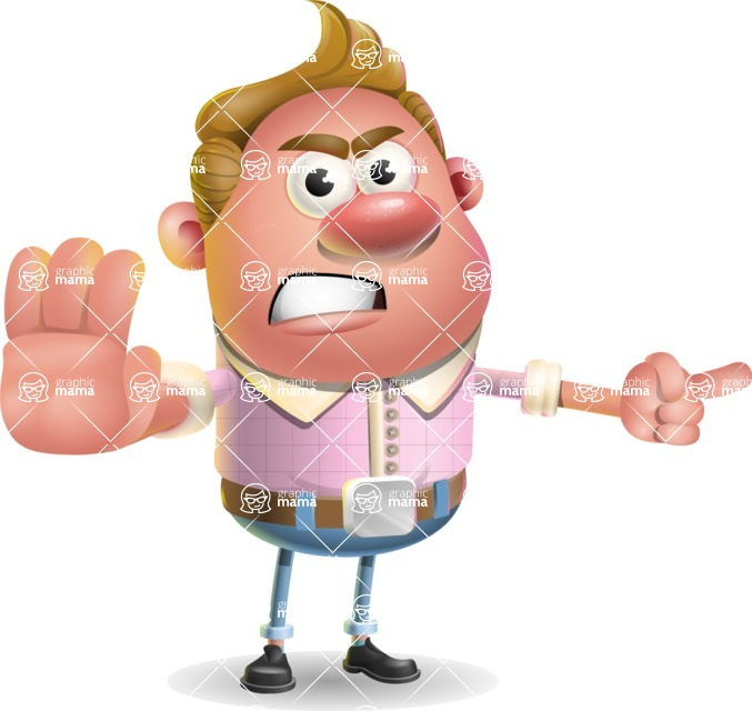 Vector Clay Business Man Cartoon Character Design AKA Theodore Quirk - Direct Attention
