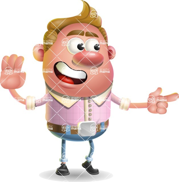 Vector Clay Business Man Cartoon Character Design AKA Theodore Quirk - Direct Attention 2
