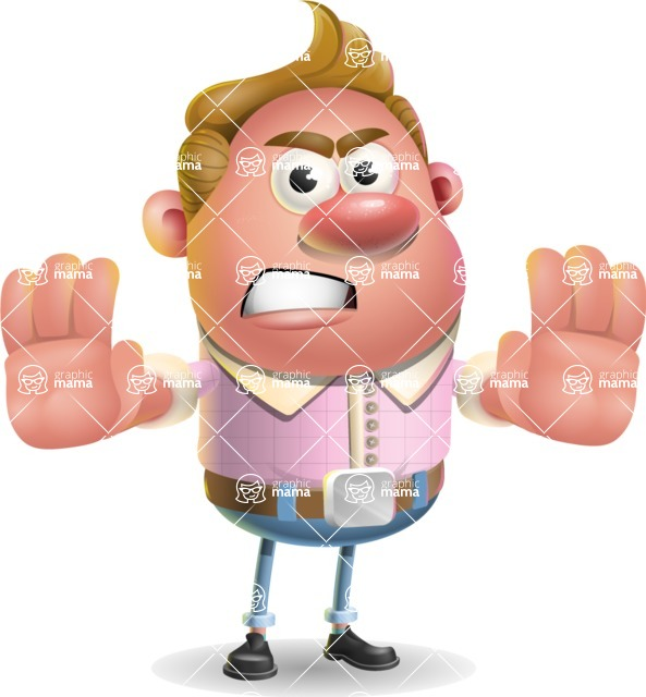 Vector Clay Business Man Cartoon Character Design AKA Theodore Quirk - Stop