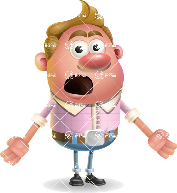 Vector Clay Business Man Cartoon Character Design AKA Theodore Quirk - Stunned