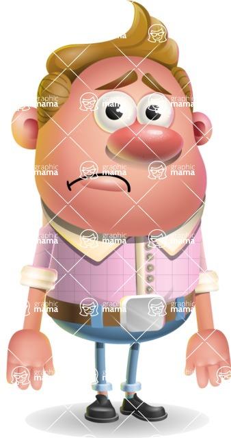 Vector Clay Business Man Cartoon Character Design AKA Theodore Quirk - Sad