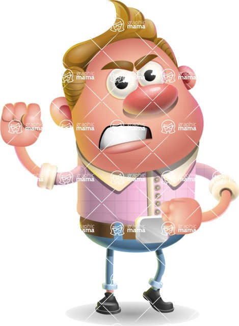 Vector Clay Business Man Cartoon Character Design AKA Theodore Quirk - Angry