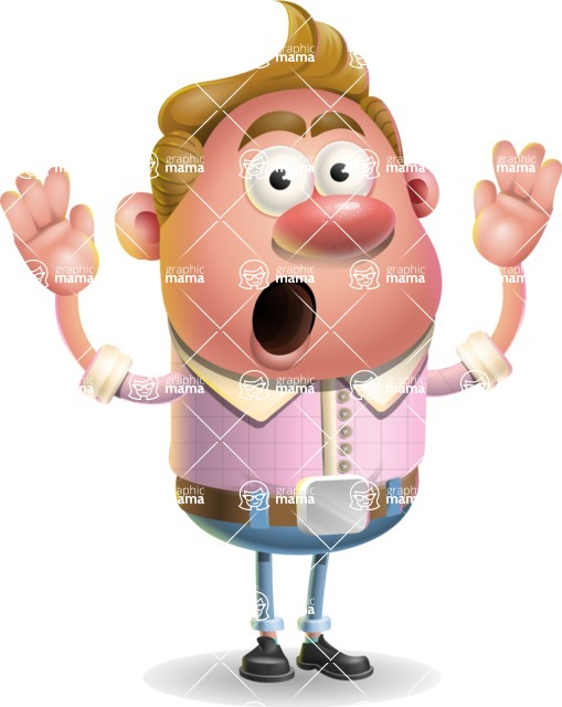 Vector Clay Business Man Cartoon Character Design AKA Theodore Quirk - Shocked