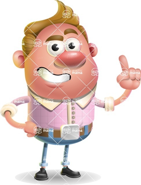 Vector Clay Business Man Cartoon Character Design AKA Theodore Quirk - Attention