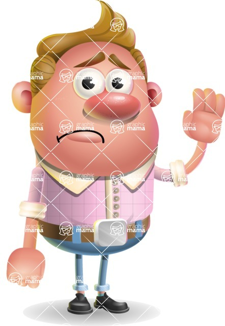 Vector Clay Business Man Cartoon Character Design AKA Theodore Quirk - Goodbye