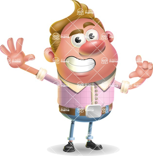Vector Clay Business Man Cartoon Character Design AKA Theodore Quirk - Hello