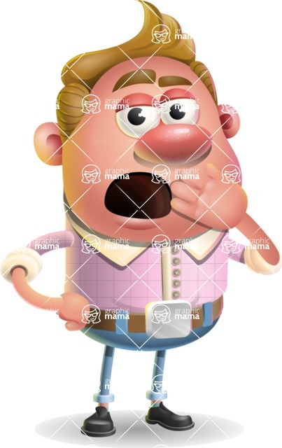 Vector Clay Business Man Cartoon Character Design AKA Theodore Quirk - Bored
