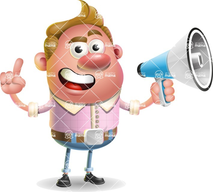 Vector Clay Business Man Cartoon Character Design AKA Theodore Quirk - Loudspeaker
