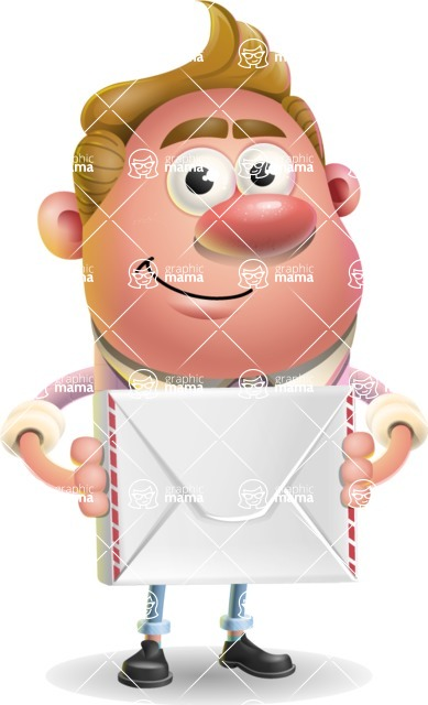 Vector Clay Business Man Cartoon Character Design AKA Theodore Quirk - Letter