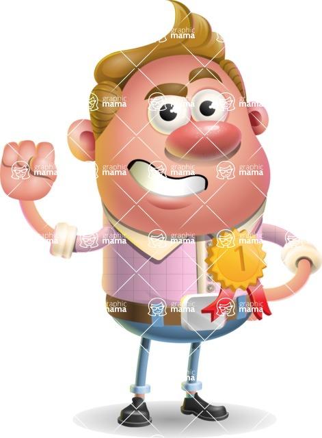 Vector Clay Business Man Cartoon Character Design AKA Theodore Quirk - Ribbon