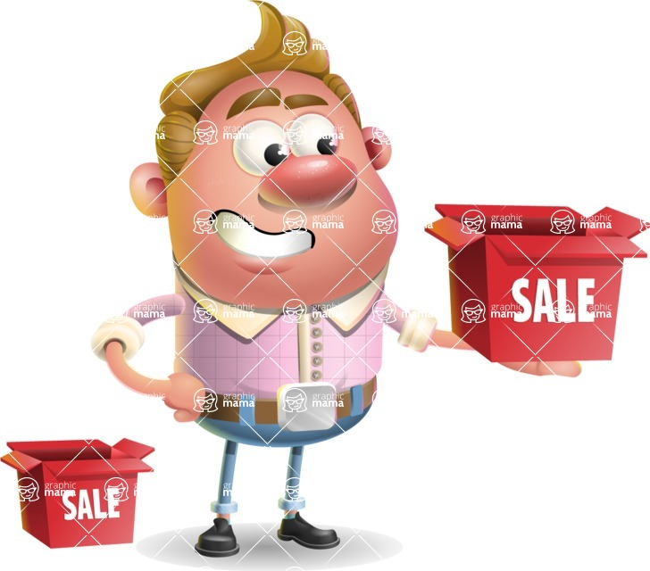 Vector Clay Business Man Cartoon Character Design AKA Theodore Quirk - Sale