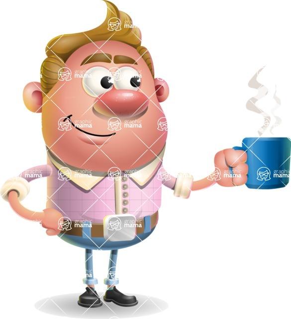 Vector Clay Business Man Cartoon Character Design AKA Theodore Quirk - Coffee