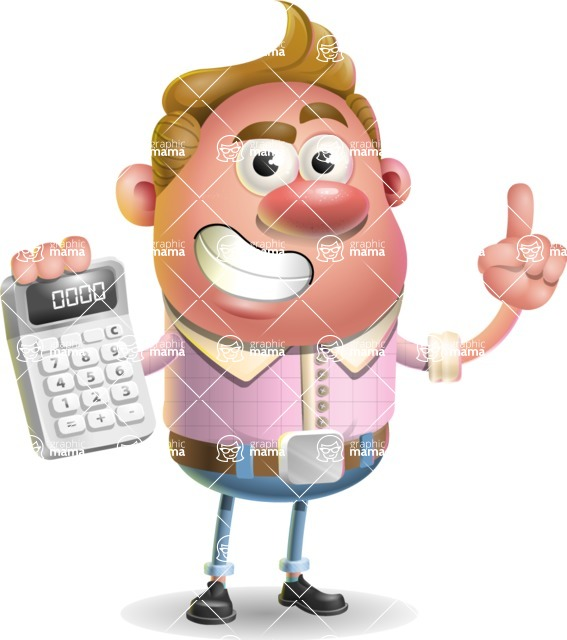 Vector Clay Business Man Cartoon Character Design AKA Theodore Quirk - Calculator