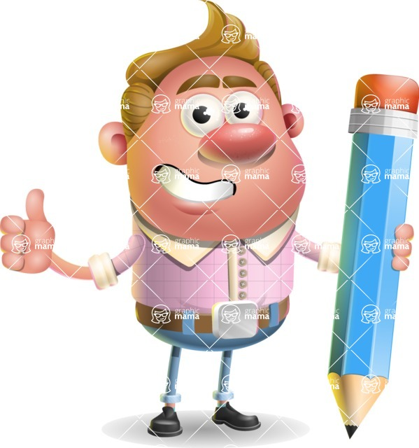 Vector Clay Business Man Cartoon Character Design AKA Theodore Quirk - Pencil
