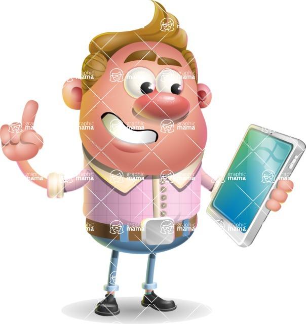 Vector Clay Business Man Cartoon Character Design AKA Theodore Quirk - iPad 3