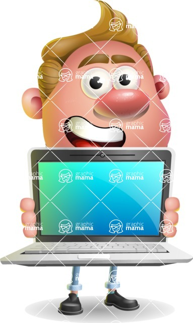 Vector Clay Business Man Cartoon Character Design AKA Theodore Quirk - Laptop 2