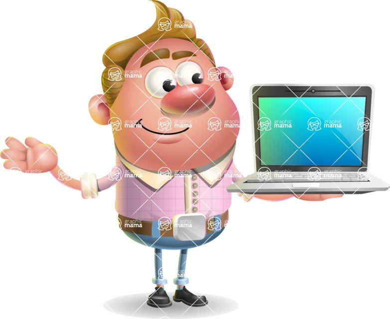 Vector Clay Business Man Cartoon Character Design AKA Theodore Quirk - Laptop 3