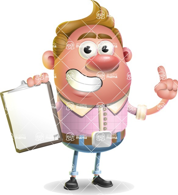 Vector Clay Business Man Cartoon Character Design AKA Theodore Quirk - Notepad 1