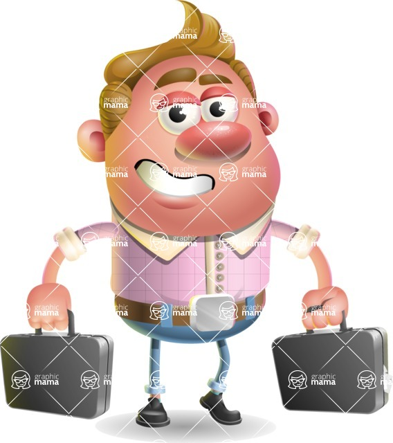Vector Clay Business Man Cartoon Character Design AKA Theodore Quirk - Briefcase 3