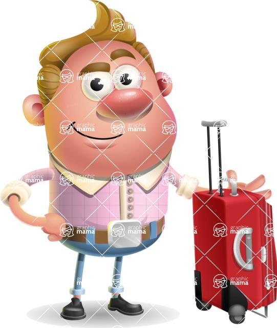 Vector Clay Business Man Cartoon Character Design AKA Theodore Quirk - Travel 1