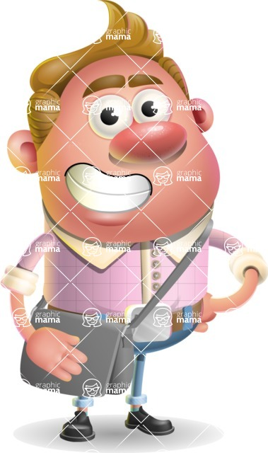 Vector Clay Business Man Cartoon Character Design AKA Theodore Quirk - Travel 2