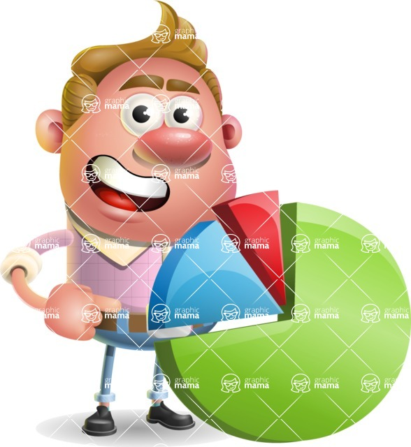 Vector Clay Business Man Cartoon Character Design AKA Theodore Quirk - Chart