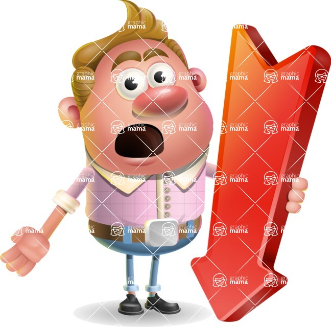 Vector Clay Business Man Cartoon Character Design AKA Theodore Quirk - Pointer 3