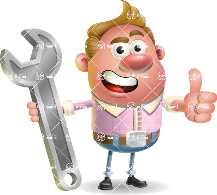 Vector Clay Business Man Cartoon Character Design AKA Theodore Quirk - Repair