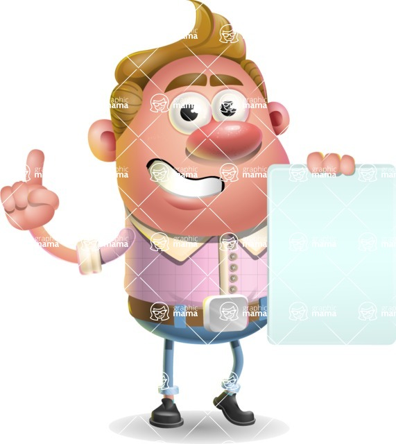 Vector Clay Business Man Cartoon Character Design AKA Theodore Quirk - Sign 2