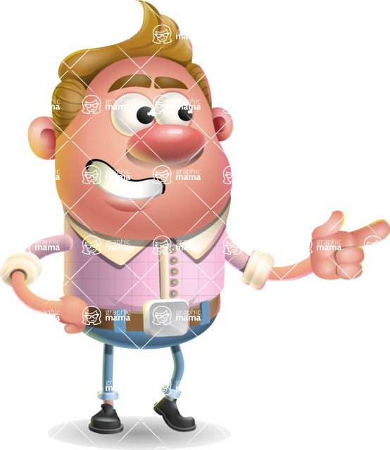 Vector Clay Business Man Cartoon Character Design AKA Theodore Quirk - Point