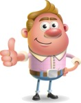 Vector Clay Business Man Cartoon Character Design AKA Theodore Quirk - Thumbs Up
