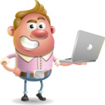 Vector Clay Business Man Cartoon Character Design AKA Theodore Quirk - Laptop 1