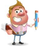 Vector Clay Business Man Cartoon Character Design AKA Theodore Quirk - Notepad 3