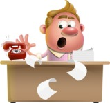 Vector Clay Business Man Cartoon Character Design AKA Theodore Quirk - Office fever