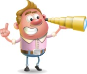 Vector Clay Business Man Cartoon Character Design AKA Theodore Quirk - Telescope