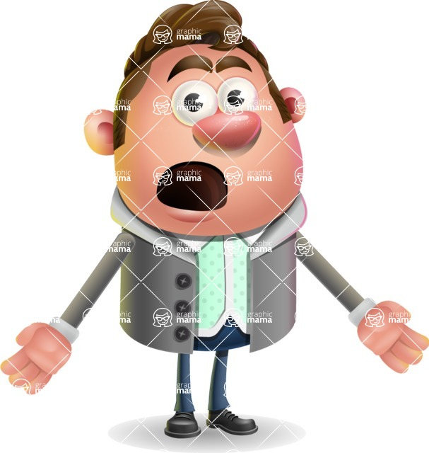 Fashionable Man Cartoon 3D Vector Character AKA Lincoln - Stunned